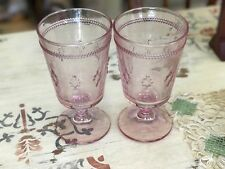 2 Table Home VINTAGE Victorian Inspired Pink Footed Glasses Easter Hobnail