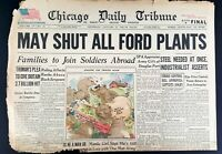 1946 Chicago Tribune Newspaper January 31, Shut Ford Plants