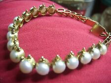 ANTIQUE VICTORIAN ETRUSCAN NATURAL BUTTON Pearl RIVIERE GOLD ON SILVER BRACELET!