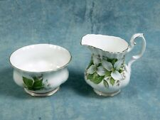 Royal Albert Trillium Small Creamer and Open Sugar Bowl gold white green