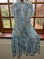 Dress Turquoise White cotton fern print summer light vintage handmade 10/12