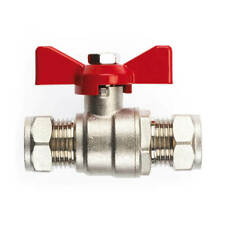 NEW 2X Ball Valve - 22mm Compression Red Butterfly Handle UK SELLER, FREEPOST