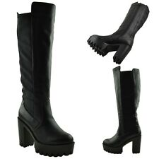 Womens Knee High Boots Elasticized Panel Chunky High Heel Platform Lug Shoes Tan