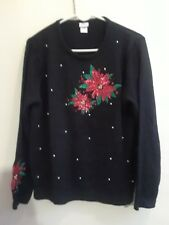 Adrian Delafield Womens Black Red Poinsettia Christmas Sweater Pullover L