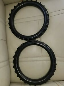"Two 9 -1/2"" OD Black Wall Hard Rubber Tires for toy Tractor/Wagon/Pedal Car, etc"