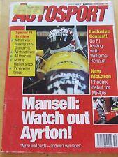 AUTOSPORT MAGAZINE MAR 1991 NEW MCLAREN PHOENIX MANSELL AND ARYTON MURRAY WALKER