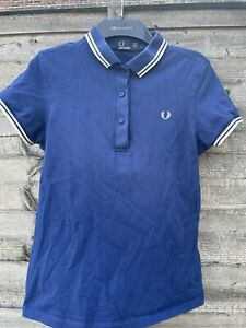 Womens Fred Perry Polo Shirt blue and white polo shirt size 10 short sleeve