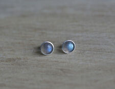 Sterling silver stud earrings with 6 mm grade A natural Labradorite cabochons