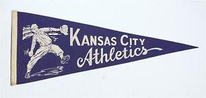 Vintage 1960's Kansas City Athletics Dark Blue Felt Pennat Baseball B9391