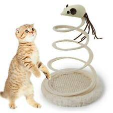 Interactive Cat Plush Toy with Spiral Spring Plate Rotating Funny Mouse Ball