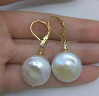 Huge 17-18mm White Baroque South Sea Pearl Earrings 14K YELLOW GOLD