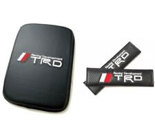 TRD Embroidery Logo Carbon Fiber Car Center Armrest Cushion Mat Pad Cover Combo