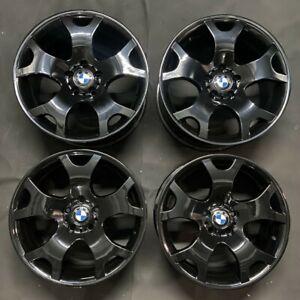 "GENUINE BMW TIGER CLAWS GLOSS BLACK 19"" STYLE 63 ALLOY WHEELS FOR X5 E53 E90 E91"