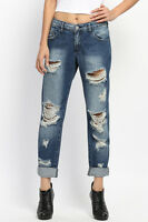 MACHINE JEANS Destroyed Distressed Ripped Dark Wash Denim Skinny Jeans   eBay