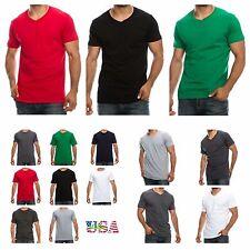 1 3 6 PACK Men T-Shirt Lot Crew Neck V-Neck Fashion Hipster Slim Fit Casual Gym