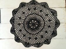 40 CM NEW BLACK CROCHET LACE DOILY