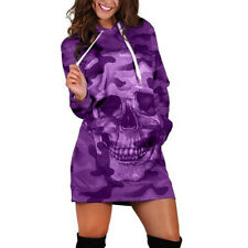 Fashion Womens Long Sleeve Loose Hooded Camouflag Skull Print Mini Dress SS