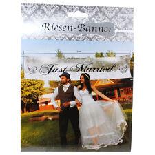 Riesenbanner 3 m Just Married Hochzeit Banner Dekoband Schild Hochzeitsdeko Deko