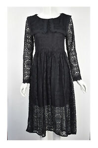 Womens Girls Lace Detailed Round Neck Long Sleeve Casual Party Dress Black S M L