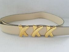 Vintage Designer Paloma Picasso Genuine cream Leather Belt M 75 made in Italy