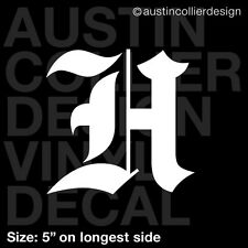 "5"" LETTER ""H"" vinyl decal car truck window laptop sticker - initials name"