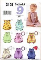 BUTTERICK SEWING PATTERN 3405 BABY SZ L-XL EASY TOP, DRESS, ROMPER, PANTIES, HAT
