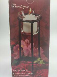 """Metal Candle Votive Holder Boutique Decor 3pc Set 6""""Tall"""