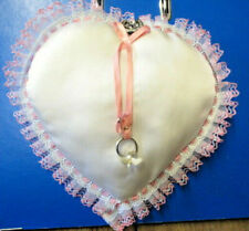 WEDDING RING PILLOW / CUSHION WHITE HEART SHAPE PINK & WHITE LACE HANDCRAFTED