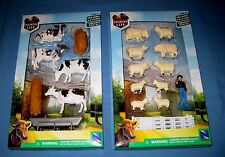 New Ray Kids Childs Country Life Farm Toy Set Sheep/Cow/Man/Hay/Trough/Fence NIP