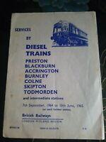 BR Train Services Timetable Booklet Preston - Todmorden 1964/5. Collectable Rare