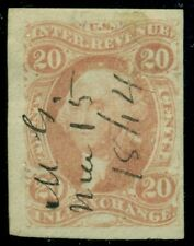 US #R42a 20¢ Inland Exchange, IMPERFORATE, used, Scott $17.00