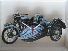 CLASSIC TRIUMPH THUNDERBIRD MOTORBIKE / SIDECAR DESIGN WALL CLOCK. NEW AND BOXED