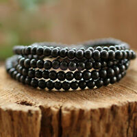 Black Tibetan Sandalwood Buddhist Buddha Prayer Beads Mala Bracelet Necklace li