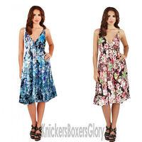 Ladies Floral Sleeveless Short Summer Beach Dress Blue/Pink NEW Size 8 - 22