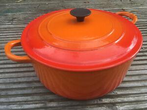 LE CREUSET French Cast Iron Orange Enamel 24cm Casserole Pot Pan