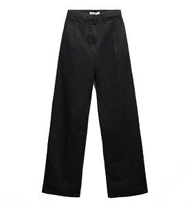 ZARA WOMEN'S SUIT TROUSER JEANS UNIT 04 Size 38 UK 10 WIDE-LEG Black Denim BNWT