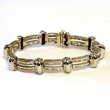 "10k yellow white gold 5.20ct mens baguette SI diamond tennis bracelet 44g 8 1/2"""