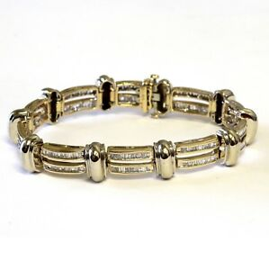10k yellow white gold 5.20ct mens baguette SI diamond tennis bracelet 44g 8 1/2""
