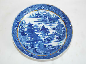 Antique late Georgian porcelain saucer dish in Pagoda Temple pattern.