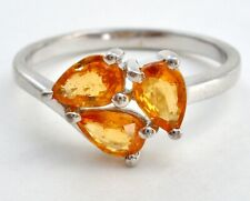 Sterling Silver Citrine Ring Size 9 TGGC 925 Gemstone Jewelry 3 Yellow Gemtones