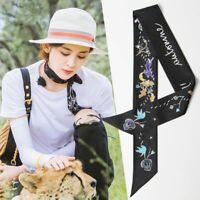 Women Tie Silk Scarf Belt Letter Brand Head Scarf Handbag Long Scarves Fashion