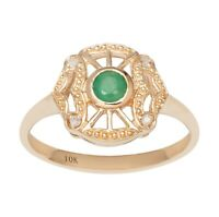 10k Yellow Gold Vintage Style Genuine Round Emerald and Diamond Accent Ring
