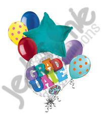 7 pc GRADUATE Block Letters Balloon Bouquet Congratulations Congrats Grad School