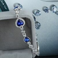 39Women Ocean Blue Crystal Rhinestone Heart Bangle Bracelet Gift New Fashion