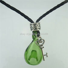 Green Glass Perfume Essential Oil Bottle Aromatherapy Diffuser Key Necklace