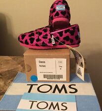 TOMS Classic Hot Pink Glitter W/Black Hearts: Size Tiny 9 (Toddler)