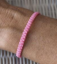 Bracelet brésilien amitié fil de coton cire tresse porte bonheur rose 8180