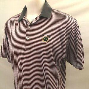 Crystal Downs CC Men's Golf Polo Shirt Large Purple Striped Peter Millar