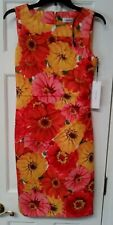 $134 NWT CALVIN KLEIN FLORAL, SLEEVELESS DRESS 4, CD9M23C5 ORANGE,PINK, YELLOW