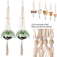 2xPot Holder Macrame Plant Hanger Hanging Planter Basket Jute Rope Braided Craft